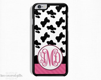 iPhone 6s Plus Case, iPhone 6 Case, iPhone 5s Case, iPhone 5c Case, Cow Print & Pink, Monogram (127)
