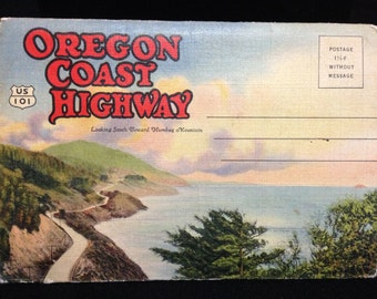 Vintage 1940's Oregon Coast Highway Information Cards Postcard Packet.