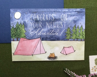Baby Girl Camping Greeting Card