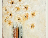 "Original Abstract Flower Art Painting, Acrylic Floral Art  ""Dreamy Flowers"" 16x12x 0,75 by M.Schöneberg"