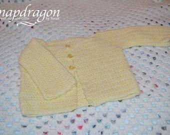 Pale lemon yellow baby cardigan 0 - 6 months