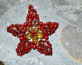 Red and gold Christmas beaded star pendant