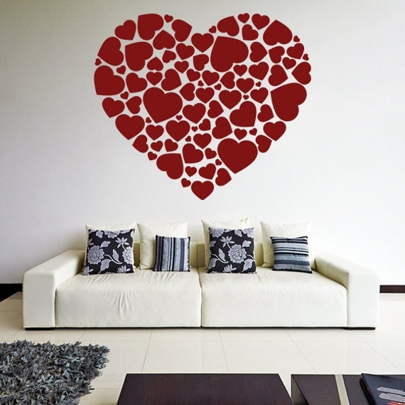 Vinyl wall decal hearts in a heart shape romantic print art for Custom vinyl mural prints