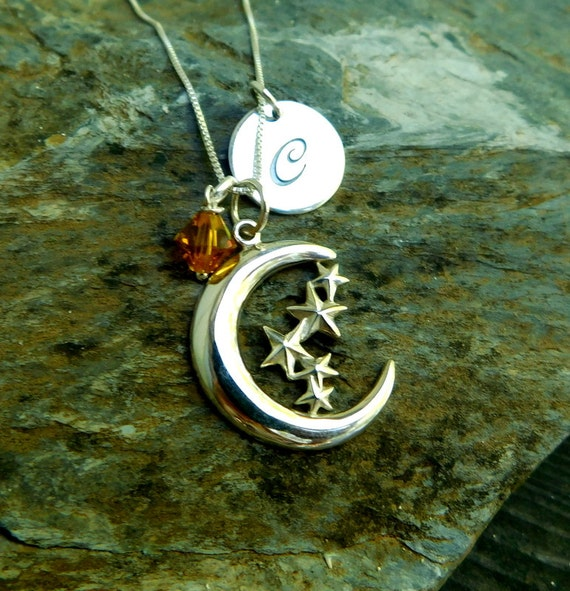 SALE!  Sterling silver moon and star necklace, celestial necklace, initial disk necklace, personalized jewelry