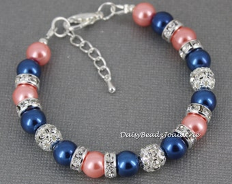 Pink Coral and Navy Bracelet, Navy Blue and Coral Bracelet, Pearl Bracelet, Bridesmaids Bracelet, Wedding, Jewelry, Bracelet, Coral Bracelet