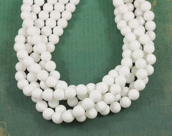 Bright Clean White Smooth Glass 8mm Rounds - Full 16 inch Strand
