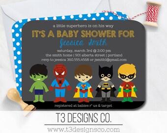 SUPERHERO Baby Shower Invitation,super hero baby shower invitation, super baby, superhero baby shower, super baby shower, baby superheroes