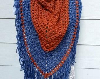 Multicolor triangle fringe scarf