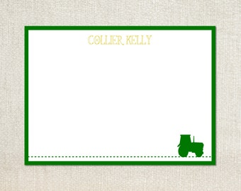 Little boys green john deere tractor flat note cards stationery