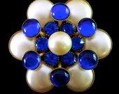 RESERVED - Blue White Glass Flower Brooch, Faux Pearl, Cabochons, Teal Rhinestones, Vintage