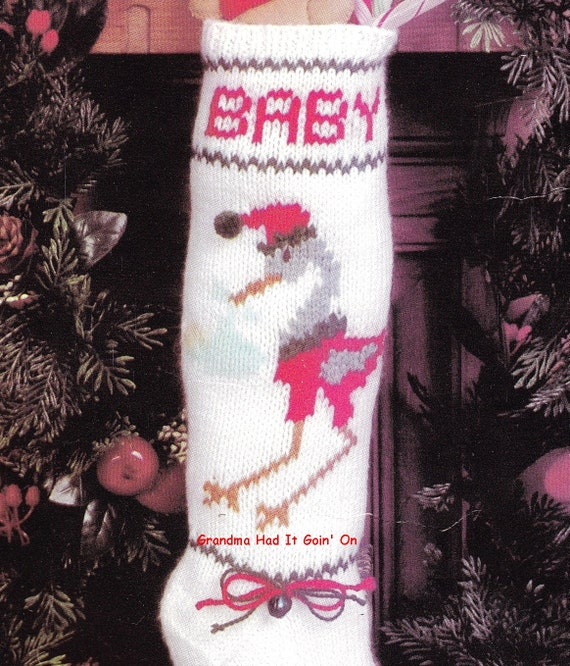 Christmas Stocking Knitting Pattern Straight Needles : Vintage baby first christmas stocking pdf instant