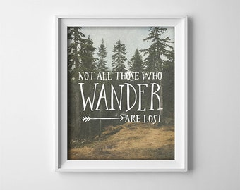 Inspirational Wall Art PRINTABLE - Not all those who wander are lost - Travel art - Graduation gift - Bedroom decor - SKU:407