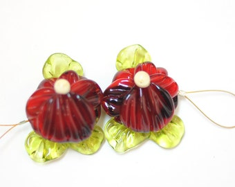 Handmade Glass Lampwork Beads - 2  Beads Set  -  Red Green Flower Garden Pansy