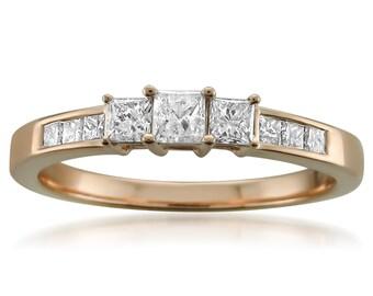 14k Rose Gold Princess-cut 3-Stone Three-Stone Diamond Engagement Wedding Ring (1/2 cttw, H-I, I1-I2)