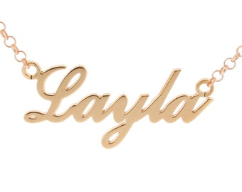 9ct Rose Gold Plated Name Necklace on Sterling Silver - Carrie Style Personalised Pendant ANY NAME Plate 2 SIZES - Gift for Her Daughter