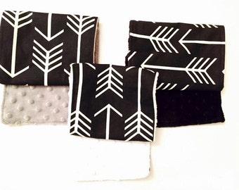 Set of 3 BLACK ARROW Burp Cloths Burp Rags Cloth White Gray Minky Baby Shower Gift BizyBelle