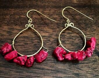Red Stone Chandelier Earrings