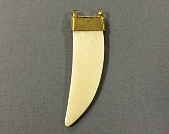 Ivory Cream Bone Horn Tusk Pendant with Brass Cap - HP105