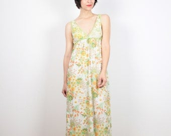 Vintage 70s Dress Green Yellow Orange Floral Print Slip Dress Maxi Dress Nightgown Empire Waist 1970s Dress Hippie Dress Sundress M Medium L