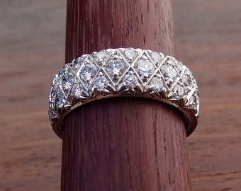 Wide Platinum Pave Diamond Honeycomb Wedding Band with Engraved Milgrain
