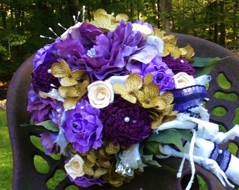 Rustic Wedding Bouquet]Shades of Purples]Silk&Sola Flowers]Boho Bouquet]Bride's Flowers]Wedding Flowers]Weddings]Peonies,Fabric-Lace,Jewelry