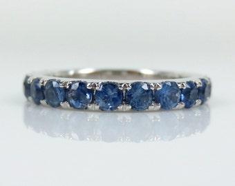 3mm  Blue Sapphire 18k White Gold Eternity Band.