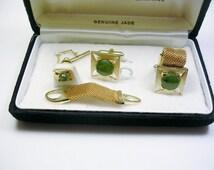 Mesh Wrap Cufflinks, Tie Tack Set, Detachable Mesh, genuine Jade / Formal Wear / Men Wedding Jewelry / Groom Best Man / Cuff Links