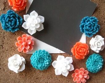 Pretty Thumbtacks / Flower Push Pins 12 pcs Coral, Teal and White Thumbtacks, Bulletin Board Thumbtacks, Housewarming Gifts, Wedding Favors