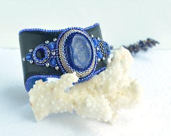 Royal blue  bracelet - bead embroidery bracelet - cuff bracelet - lazurite bracelet - beaded cuff bracelet