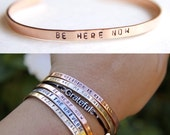 Thin Cuff Bracelet. Be here now. Yoga Jewelry. Dainty.