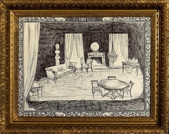Superb Rare ca.1960 Elegant Sitting Room Interior Scene Ink Study with Frame