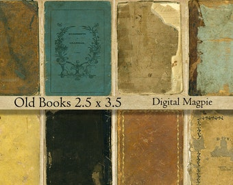 Old Book Covers atc digital background paper tags grunge tattered shabby scrapbook 2.5 x 3.5 collage sheet aged vintage old paper printable