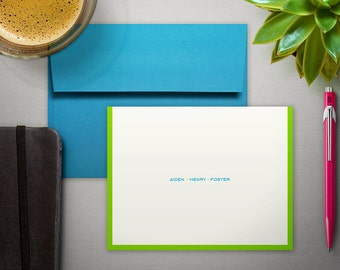 Personalized Stationery - Folded Notecards with Modern Border - Contemporary Note Card Stationery Set - Personalized Stationary
