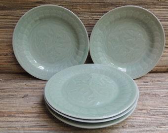 Vintage Chinese Celadon Fantail Goldfish Plates