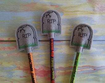 R.I.P. Tombstone  Pencil Topper, set of 3, pencil included. Trick or Treat.