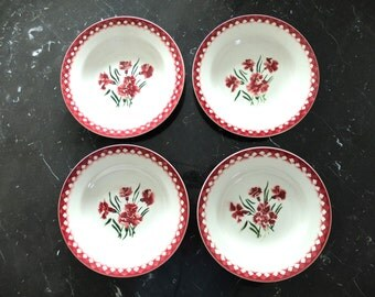"""4 French Vintage Digoin Sarreguemines soup Plate with pink flowers """"MIGNARDISE"""" 1940s"""