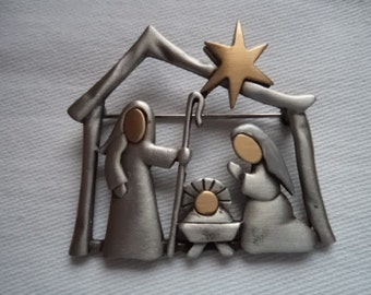 Vintage Signed JJ Silver pewter Small Nativity Scene Brooch/Pin