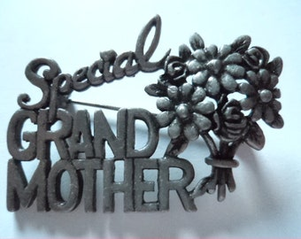 Vintage Signed Danecraft Silver pewter Special Grandmother Brooch/Pin