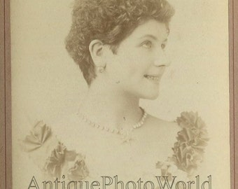 Short haired actress Paquerette antique cabinet photo by N. Sarony