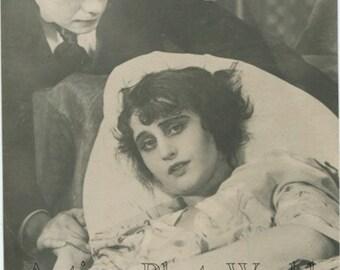 Vera Holodnaya and Vladimir Maksimov silent film star antique photo pc Russia