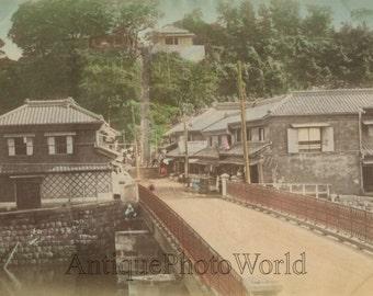 Japan town view bridge antique hand tinted photo