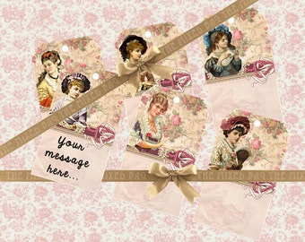 Vintage style gift tags Printable tags on Digital Collage Sheet best for journaling, paper craft Printable download Paper goods
