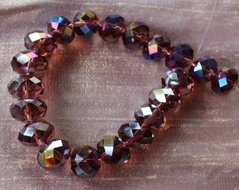 Mauve crystal beads