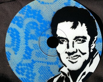 Elvis Stencil Art on a Compact Disc