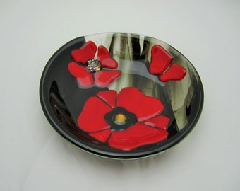 Red Poppies in Black Field Fused Glass Bowl