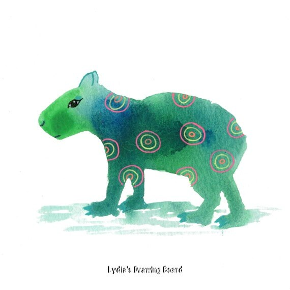 Capybara, Spirit Animal. Animal Art, Animal Artwork, Animal Art Print, Whimsical Art, South American Art, Kids Room Wall Art, Kids Room Art