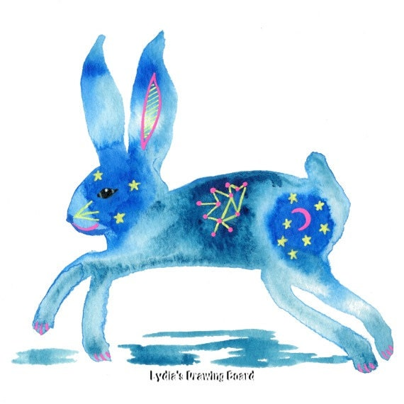 Rabbit, Bunny, Spirit Animal, Bunny Rabbit, Whimsical Art, Psychedelic Art, Nature Art Print, Woodland Animals, Woodland Creatures, Wall Art