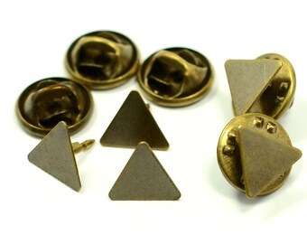 40 Pieces Triangular 10x10x10 mm Tie Tack Clutch Pin Findings