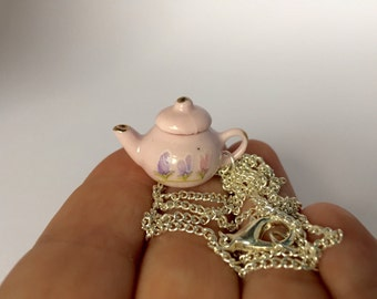 Tiny Teapot Necklace - Cute Miniature Teapot - Mini Tea Pot Jewelry - Tea Pot Necklace - Fairy Kei Jewellery - English Countryside Style
