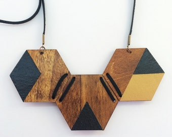 Hanpainted Timber Hexagon Necklace with Leather Detail
